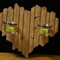 Cadre photophore bois coeur à suspendre